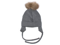 Huttelihut cap for babies stone gray with fur tassel