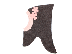 Huttelihut balaclava brown with pink flowers wool/cotton