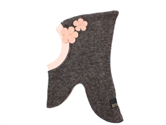 Huttelihut balaclava brown with dusty rose flowers