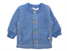 Joha cardigan square blue dots wool