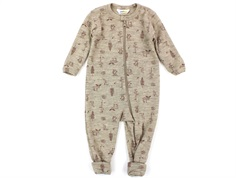 Joha jumpsuit sand/old roseish-white printing wool