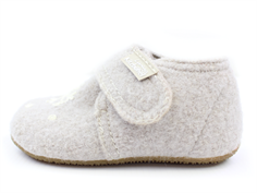 Living Kitzbühel slippers feather gray wool with bear and snow flake