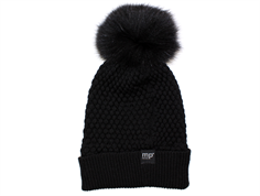 MP Chunky Oslo hat black with fur tassel wool