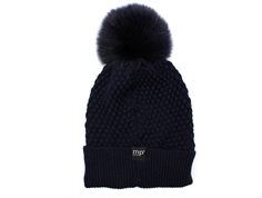 MP Chunky Oslo hat dark navy with fur tassel wool