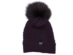 MP Chunky Oslo hat plum with fur tassel wool