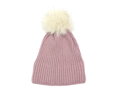 MP hat Hope rose gray fur tassel pom pom