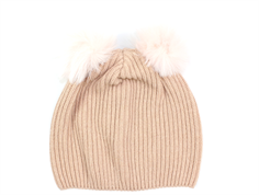 MP hat rose dust with two faux fur pom poms