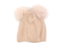 MP hat rose dust with fur tassel pom poms