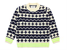 Mads Nørgaard knit sweater navy/ecru/neon yellow wool