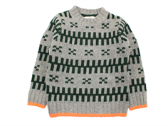 Mads Nørgaard sweater Keldino gray melange/green/neon orange