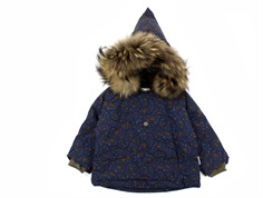 Mini A Ture winter jacket Wang Fur blue nights flowers
