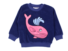 Mini Rodini sweatshirt Terry whale navy
