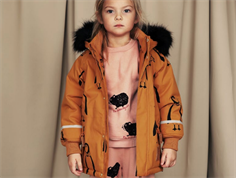 Mini Rodini winter jacket parka brown penguin
