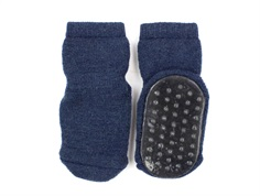 MP Stockings dark denim melange wool with rubber soles