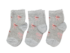 Petit by Sofie Schnoor socks grey melange flamingo (3-pack)