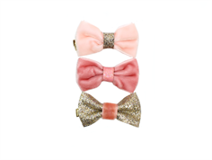 Petit by Sofie Schnoor hair clips bow rose mix velvet (3 pieces)