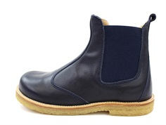 Pom Pom ancle boots navy with elastic and zipper