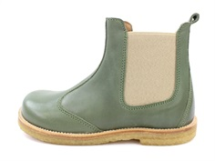 Pom Pom ancle boots olive with elastic and zipper
