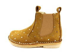 Pom Pom ancle boot camel gold dot with elastic and zipper