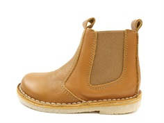 Pom Pom ancle boot camel with elastic and zipper
