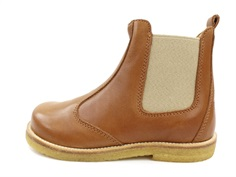 Pom Pom ancle boots camel with elastic and zipper
