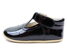 Pom Pom slippers negro patent leather