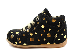 Pom Pom toddler shoe black gold dot with laces