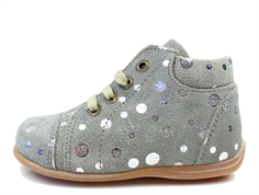 Pom Pom toddler shoe silver dots with laces