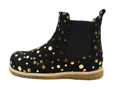 Pom Pom ancle boot black gold dot with elastic
