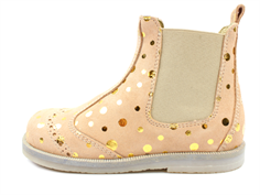 Pom Pom ancle boot peach gold dot with elastic