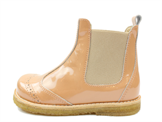 Pom Pom ancle boot peach varnish with elastic