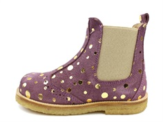 Pom Pom ancle boot purple gold dot with elastic