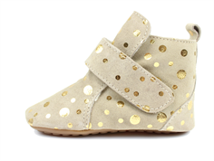 Pom Pom slippers beige/gold dot with wool