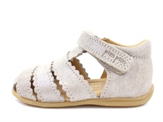Pom Pom sandals glitter silver with velcro