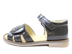 Pom Pom sandal gray lacquer with velcro