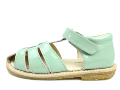 Pom Pom sandal dusty green lacquer with velcro