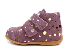 Pom Pom toddler shoe purple gold dot with velcro