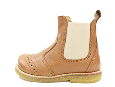 Pom Pom ancle boot camel with elastic