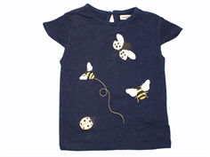 Small Rags T-shirt navy blue iris with bee and ladybug