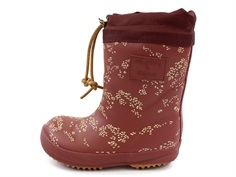 Bisgaard/Soft Gallery winter rubber boot maroon flower with woollining