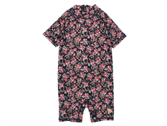 Wheat swimsuit/coveralls Cas midnight blue flowers UV