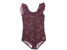 Wheat swimsuit Marie-Louise soft eggplant flowers