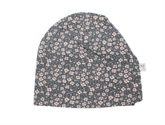 Wheat beanie hat greyblue with flowers