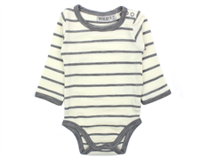 Wheat body melange gray stripes wool
