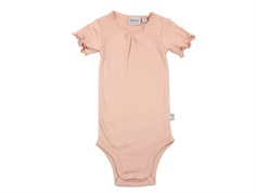 Wheat body rib misty rose with lace