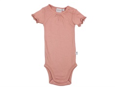 Wheat body rib soft peach rose with lace