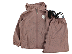 Wheat rainwear Charlie pants and jacket dusty rouge flower