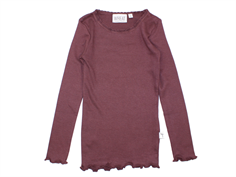 Wheat t-shirt rib soft eggplant with lace