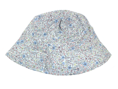 Wheat sun hat baby blue with flowers