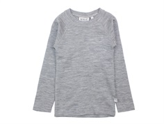 Wheat long-sleeved t-shirt/undershirt melange gray wool